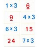 Wis en reken tafelkaartjes 3, 4, 5 en 10